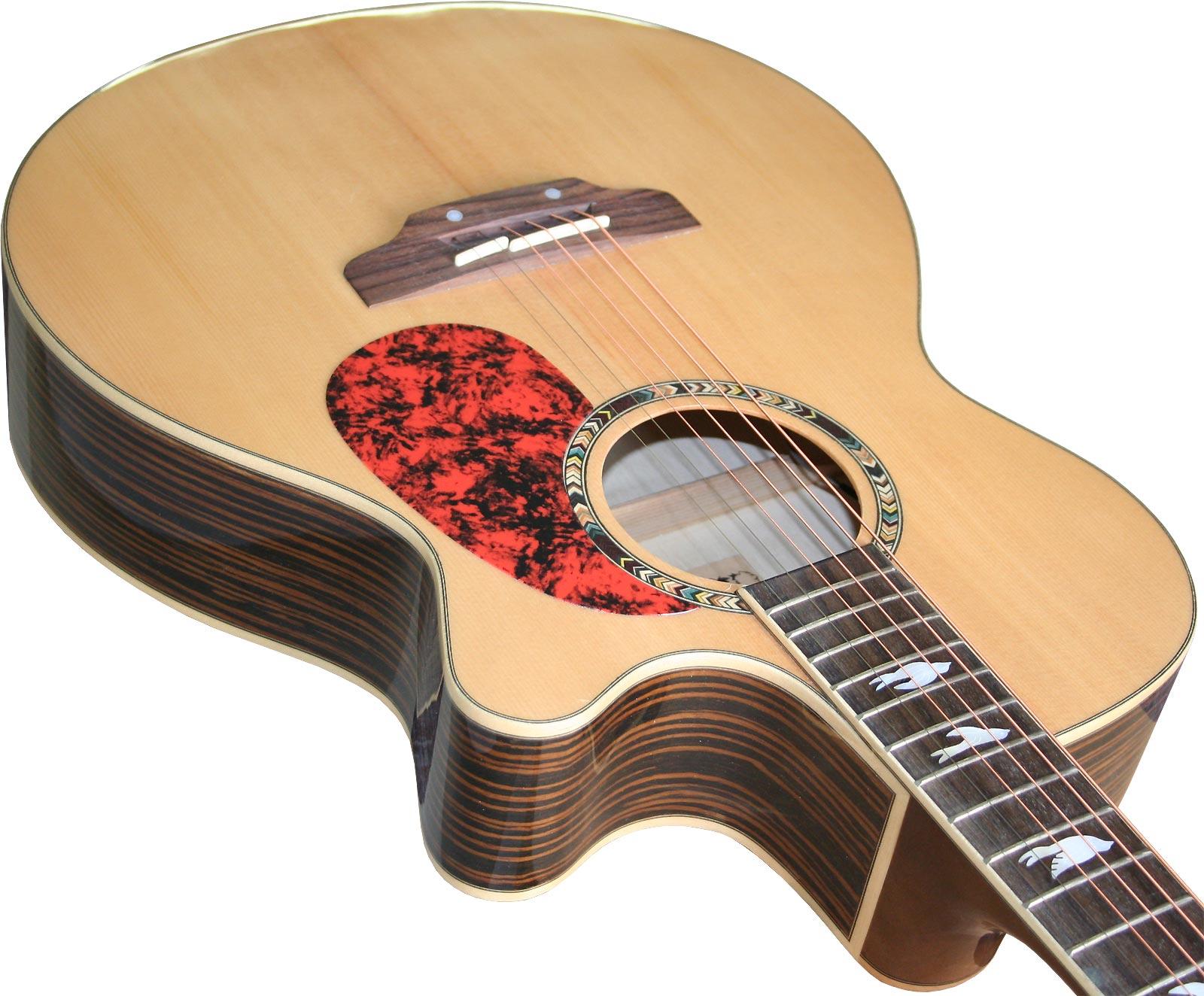 Western-Gitarre-massive-Fichten-Decke-Cutaway-mit-Tonabnehmer