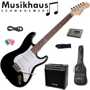 E-Gitarre-Set-mit-65W-Verstaerker-mit-Zubehoer-Stimmgeraet-Tasche-Gurt-Schwarz
