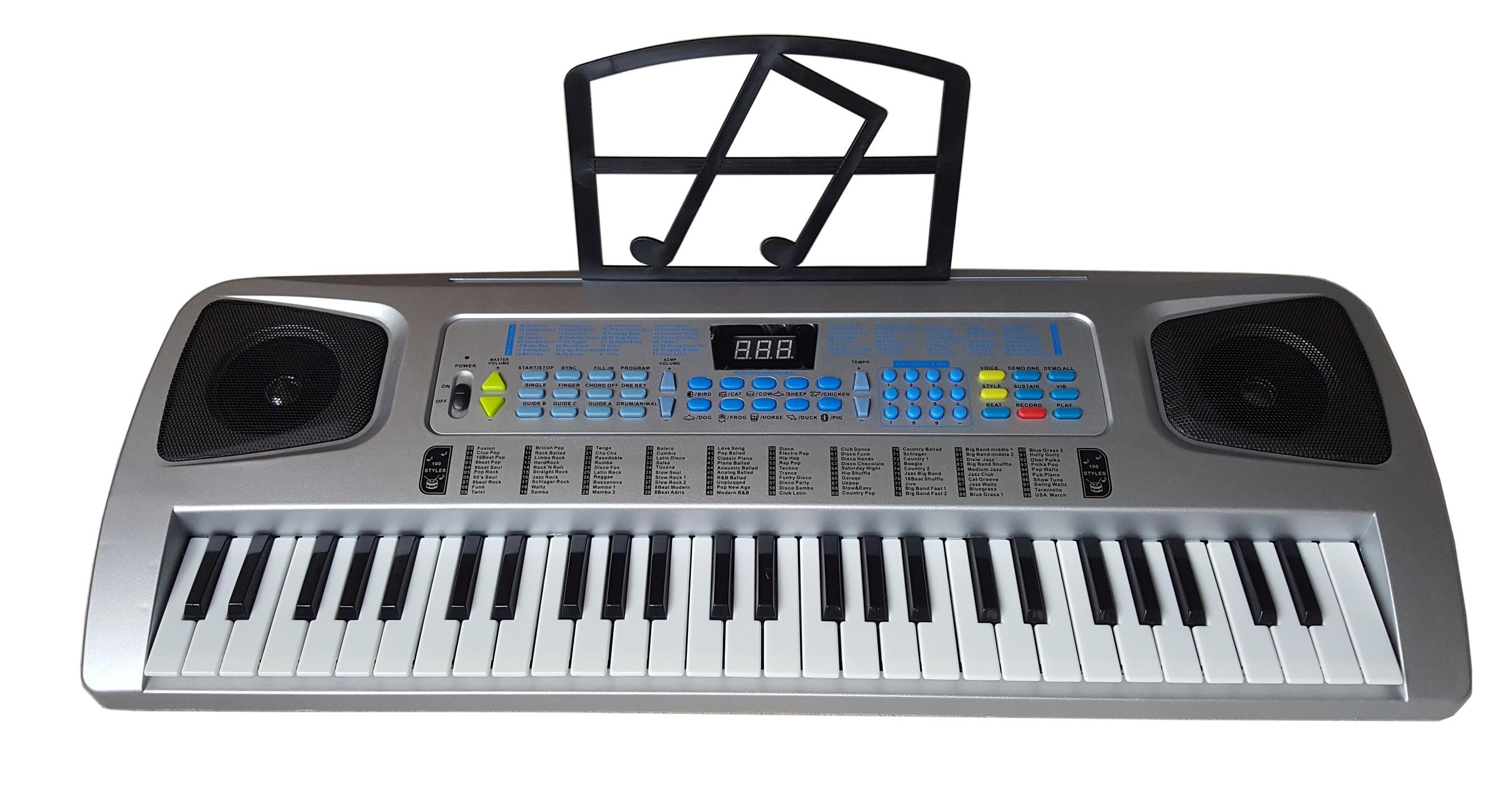 Lernfunktion 100 Sounds//Rythmen Fun Keyboard Notenhalter Netzteil 54 Tasten